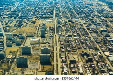 Aerial view of south Chicago at mid day, with digital oil-painting effect