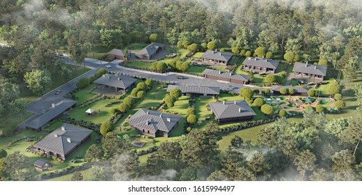 Aerial view of a townhouse village / gated community in the foggy morning, 3d rendering