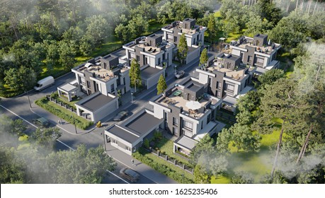 Aerial view of a townhouse village / gated community with roof terrace in the foggy morning, 3d rendering