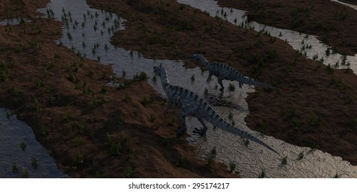aerial view of two walkinf suchomimuses dinosaurs