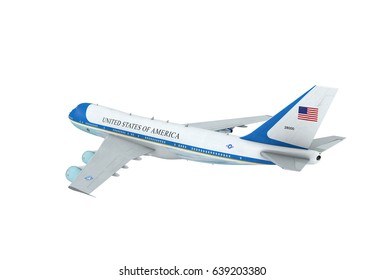 Aerial view of U.S. Air Force One Presidential Boeing 747 (VC-25) Aircraft. Isolated. 3D Illustration.