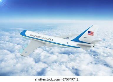 Aerial view of U.S. Air Force One Boeing 747 (VC-25) Aircraft. 3D Illustration.