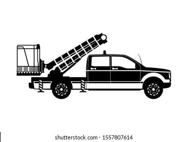 Aerial work platform. Boom lift silhouette. Side view. Raster.