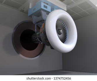 Aeroengine test cell concept. 3D rendering image.