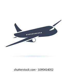 Aeroplane icon illustration. Airplane flight travel symbol. Flat plane view of a flying aircraft stock. Air cargo delivery and transportation charter. Business logistic symbol for web.