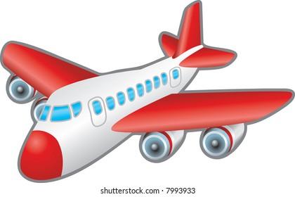 Aeroplane. Children's illustration of a jumbo jet aeroplane.  Raster version