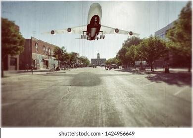 aeroplane landing on a empty street 3d illustration