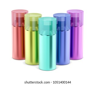 Aerosol spray cans with different colors on white background, 3D illustration