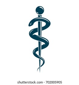 Aesculapius abstract emblem composed using wings and snakes best for used in pharmacy advertisement.