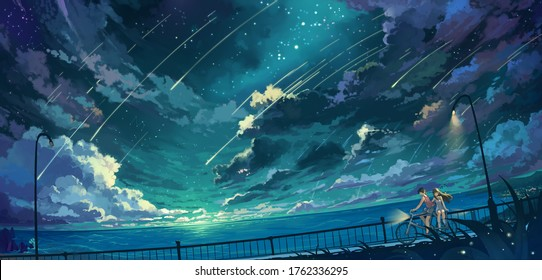 Aesthetic anime theme illustration of a boy and girl