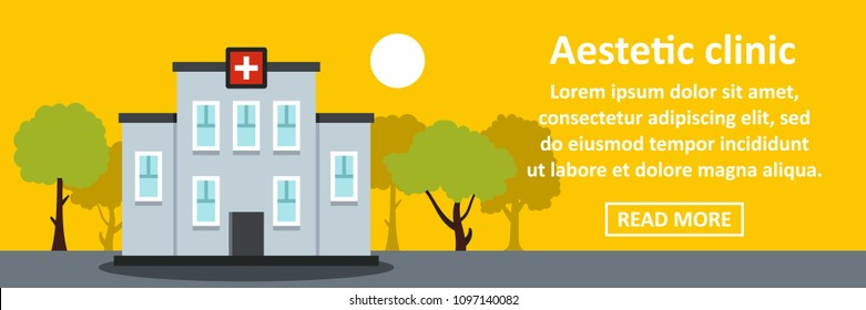 Aesthetic clinic banner horizontal concept. Flat illustration of aesthetic clinic banner horizontal concept for web design