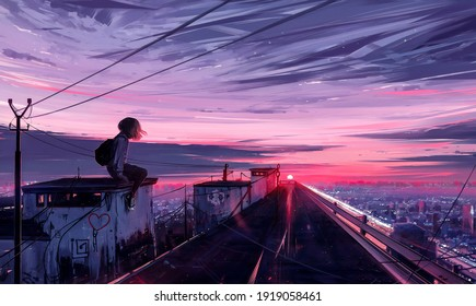 aesthetic illustration of a girl sitting on the rooftop