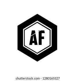 Af Letter design Illustration in the hexagonal