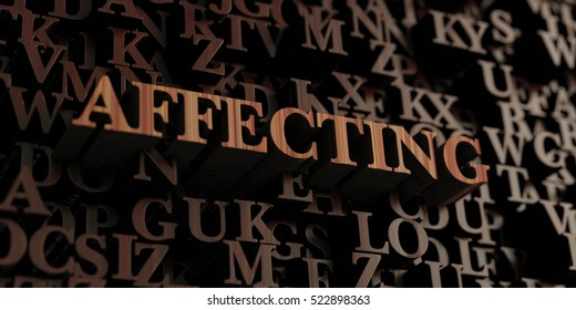 Affecting - Wooden 3D rendered letters/message.  Can be used for an online banner ad or a print postcard.