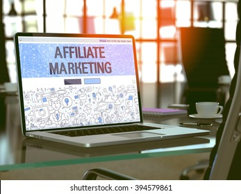 Affiliate Marketing Concept Closeup on Landing Page of Laptop Screen in Modern Office Workplace. Toned Image with Selective Focus. 3D Render.