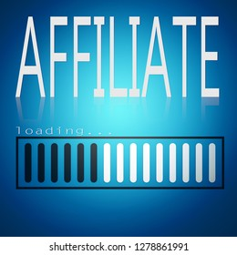 Affiliate word with blue loading bar, 3D rendering