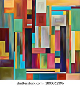 Affinity of Forms series. Interplay of abstract background of colorful shapes and textures on the subject of art, design, creativity and imagination.