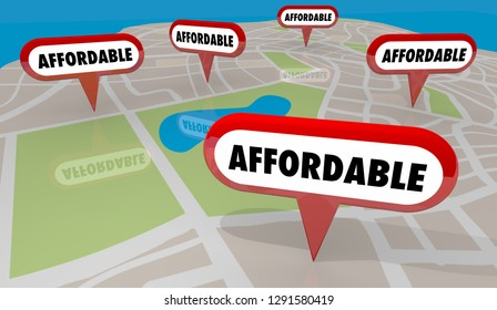 Affordable Homes Houses Properties Map Pins 3d Illustration