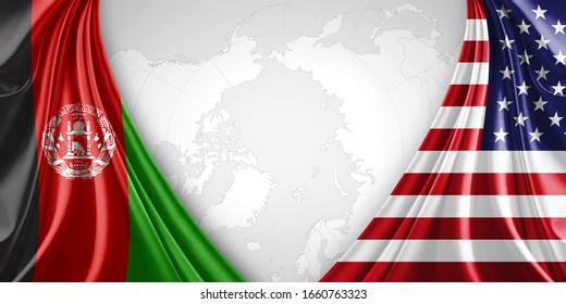 Afghanistan and American flag of silk with copyspace for your text or images and world map background-3D illustration