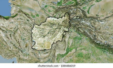 Afghanistan area on the satellite D map in the stereographic projection