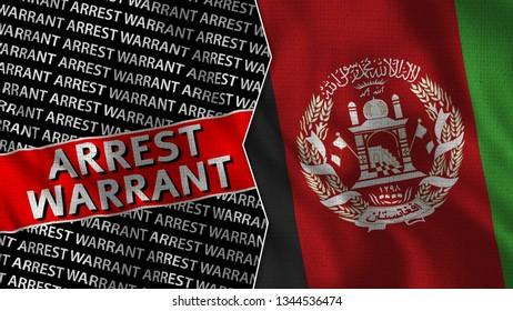 Afghanistan and Arrest Warrant Titles Flag Together - 3D illustration Fabric Texture