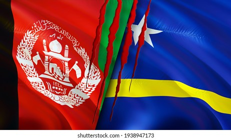 Afghanistan and Curacao flags with scar concept. Waving flag,3D rendering. Curacao and Afghanistan conflict concept. Afghanistan Curacao relations concept. flag of Afghanistan and Curacao