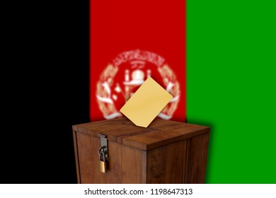 Afghanistan flag with ballot box - elections