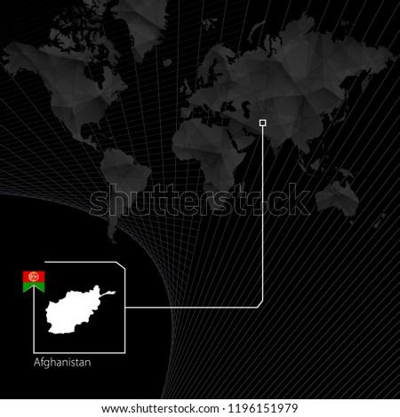 Afghanistan On Black World Map Raster Stockillustration 1196151979 ...