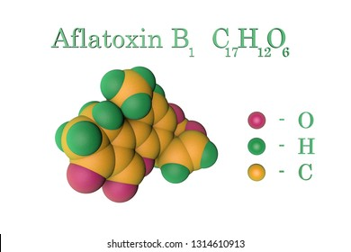Aflatoxin B1, carcinogenic toxin produced by fungi Aspergillus. Atoms are represented as spheres with color coding: oxygen (pink), hydrogen (green), carbon (yellow). 3d illustration