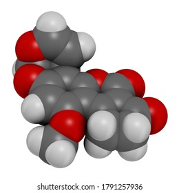 Aflatoxin B1 mold carcinogenic molecule. 3D rendering. Atoms are represented as spheres with conventional color coding: hydrogen (white), carbon (grey), oxygen (red).