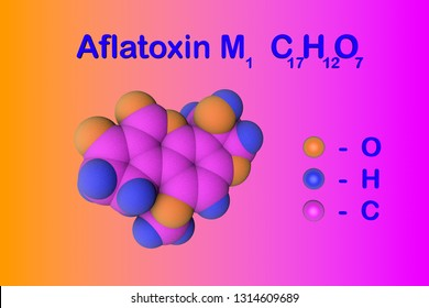 Aflatoxin M1, carcinogenic toxin present in milk and dairy products. Atoms are represented as spheres with color coding: oxygen (pink), hydrogen (light blue), carbon (yellow). 3d illustration