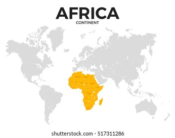 Africa continent location modern detailed map. All world countries without names. template of beautiful flat grayscale map design with all African counties borders location and names