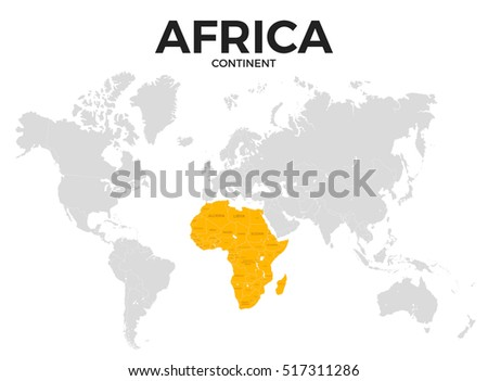 Africa Continent Location Modern Detailed Map Stock Illustration ...