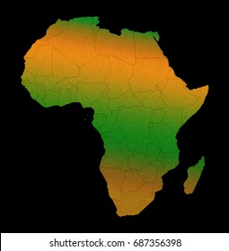 Africa continent outline silhouette map concept isolated on black background.