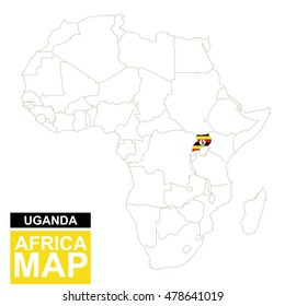 Africa contoured map with highlighted Uganda. Uganda map and flag on Africa map. Raster copy.