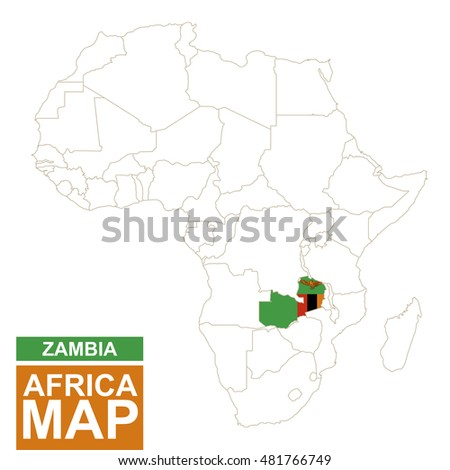 Africa Contoured Map Highlighted Zambia Zambia Stock Illustration