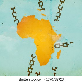 Africa Day. African Freedom Day. Independence and decolonization concept. Orange map of Africa surrounded by broken chains on a blue sea. Flocks of blue cranes can be seen flying over the continent.