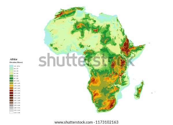elevation map of africa with key Africa Elevation Map 3d Rendering Stock Illustration 1173102163 elevation map of africa with key
