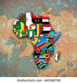 Africa flags,maps continent and world map background-3D illustration