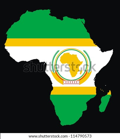 Flag Map Of Africa.Africa Map African Union Flag Stock Illustration Royalty Free