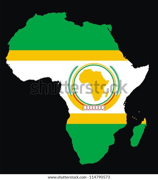 African Union Map.Africa Map African Union Flag Stock Illustration 114790573