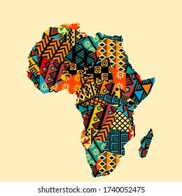 Afrikanische Landkarte mit ethnischen Motiven