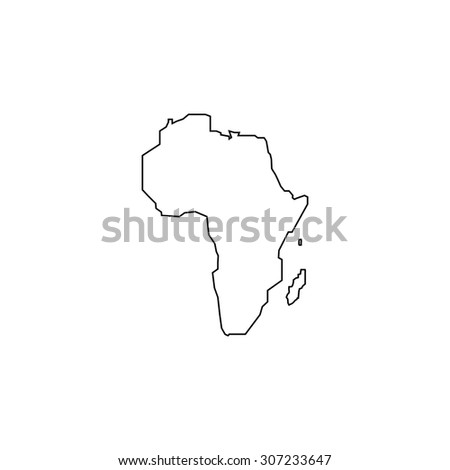 Africa Map Outline Black Simple Symbol Stock Illustration Royalty