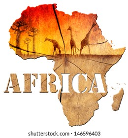 Africa Map Wooden Illustration / Africa map with wood texture and colorful landscape of fantasy, with baobab trees and giraffes