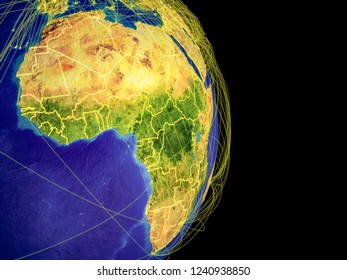 Africa on Earth with trajectories representing international communication, travel, connections. 3D illustration. Elements of this image furnished by NASA.