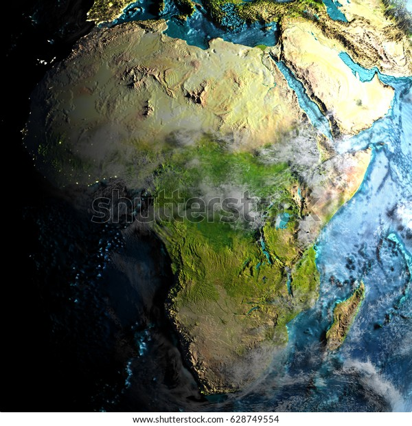Africa On Realistic Physical Map During Stock Illustration 628749554