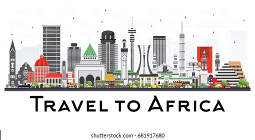 Africa Skyline with Famous Landmarks. Business Travel and Tourism Concept. Image for Presentation, Banner, Placard and Web Site.