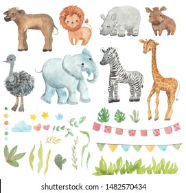 Africa watercolor set. Safari collection with giraffe, rhino, zebra, lion, warthog, ostrich, Buffalo, elephant. Watercolor cute animals. Perfect for wallpaper, print, packaging, invitations