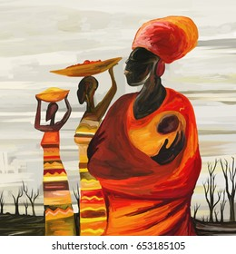 Africa, Women with Baby, Digital Artwork (Digital Art, Oil Painting)
