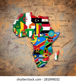 Africa,continent, flags, and map Africa background